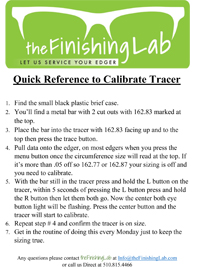 Quick Reference to Calibrate Tracer thumb